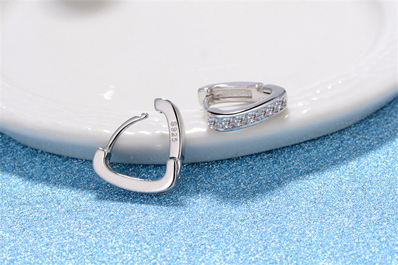 Everoyal New Arrival Lady Silver 925 Earrings Heart Jewelry Female Trendy Cubic Zircon Hoop Earrings For Girls Accessories Charm in Hoop Earrings from Jewelry Accessories