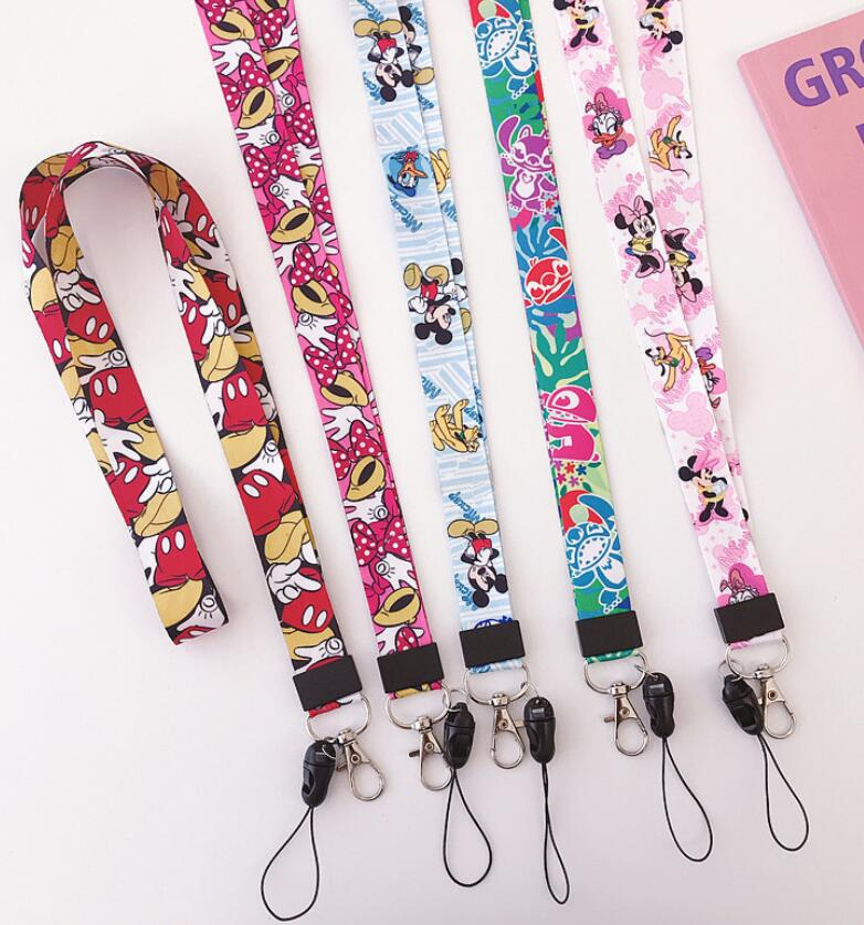 Retail 1 Pcs Cartoon Mickey Minnie Stitch  Straps Lanyard  ID Badge Holders Mobile Neck Keychains For Party Gift R23