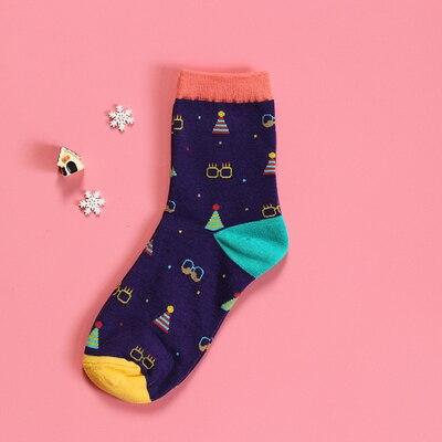 OtherLinks 3pcs/set Cartoon Print Cotton Socks Women Casual Fashion Socks 2017: Chick, Purple Glass&Hat, White Glass&Hat