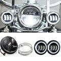 "7 Pulgadas Harley Daymaker LED Headlight + 2x 4-1/2 ""Luz de niebla de las Luces de Cruce para Harley Davidson Motocicleta W/Anillo De Montaje Soporte"