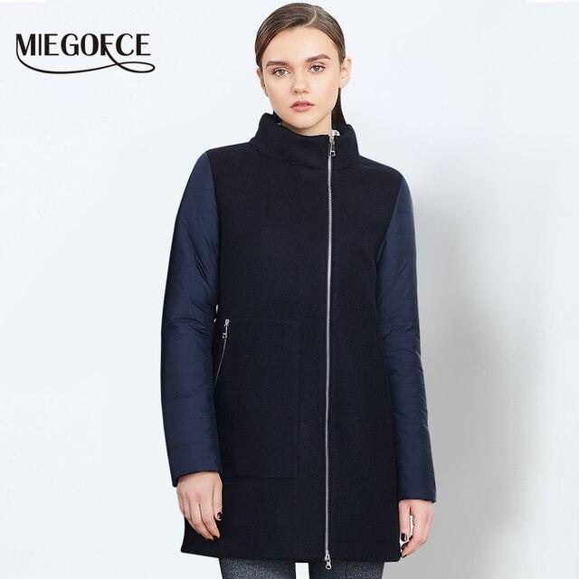 MIEGOFCE 2018 Весеннее шерстяное женское пальто Куртка женская теплаяна молнии весеннее пальто