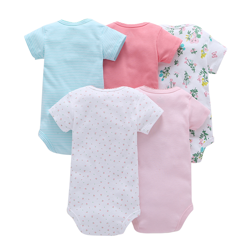 Brand new 100% Cotton Baby girl boy Rompers 2017 Polka Dot  Baby Boy's Newborn five pcs Short Sleeve O-Neck Climbing Clothes baby rompers o neck 100