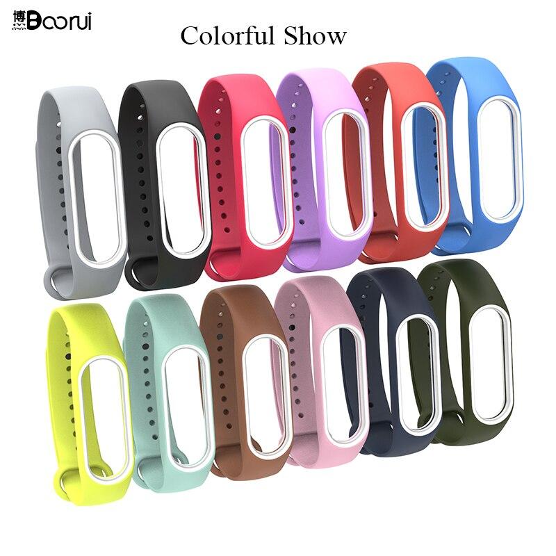 BOORUI mi band 3 strap silicone wrist strap mi3 accessories replacement for xiaomi mi 3 smart bracelet with varied 12 colors