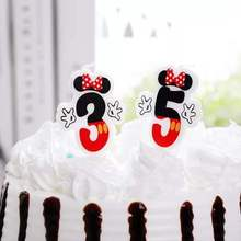 1pc Cartoon Number 0 1 2 3 4 5 Cake Topper Candles Kids Birthday Candles Party Supplies Boy Girl Birthday Party Cake Decoration цена