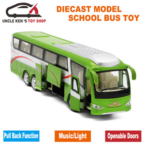 Image 3 - 25 cm Lengte 1 55 Schaal Diecast Metalen Shuttle Bus Model, jongens Gift Legering Speelgoed Met Te Openen Deuren/Muziek/Licht/Pull Back Functie