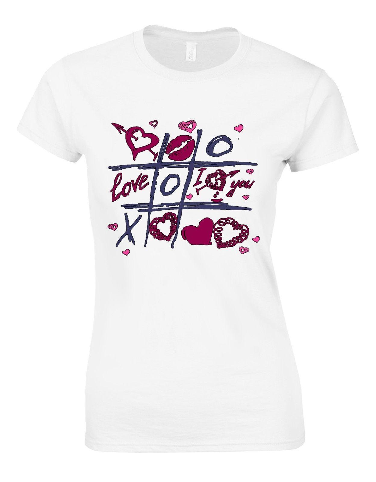 Womens Fashion T shirt Tic Tac Toe Hearts I Love You Funny Valentines February 14 Woman T shirt AM33
