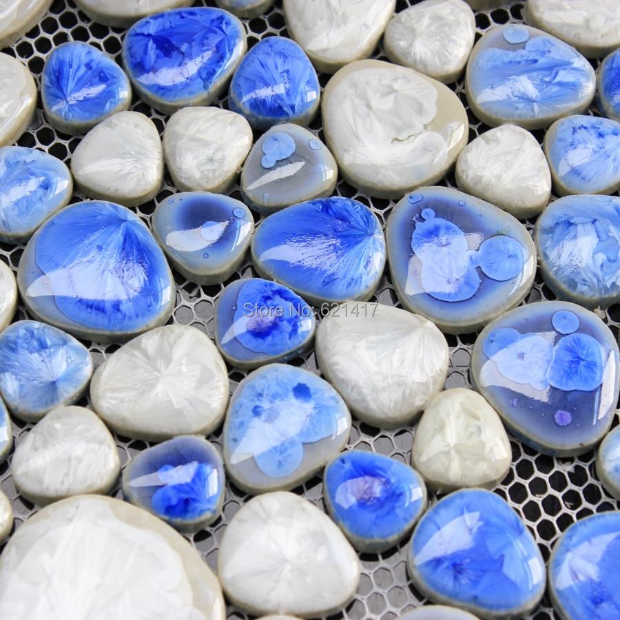 light blue and white ceramic porcelain mosaic backsplash HMCM1014 ...