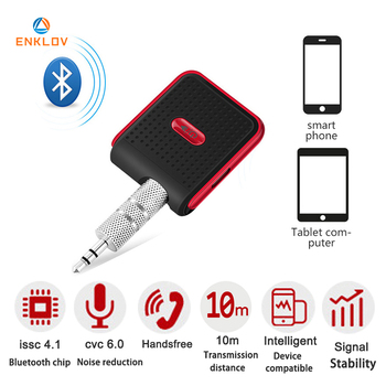 ENKLOV Bluetooth 4.1 Aux Car 3.5mm Audio Adapter Handsfree Bluetooth Car Kit For Smart Phone Aux Bluetooth 5 COLORS