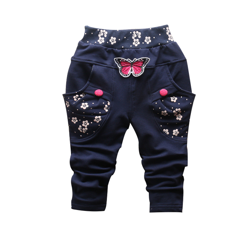 2017 New Spring 100% cotton High-quality cute Butterfly embroidery pattern baby girls pants 0-3 year baby pants for girls girls 100