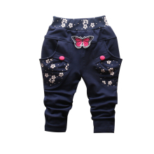 2017 New Spring 100% cotton High-quality cute Butterfly embroidery pattern baby girls pants 0-3 year baby pants for girls