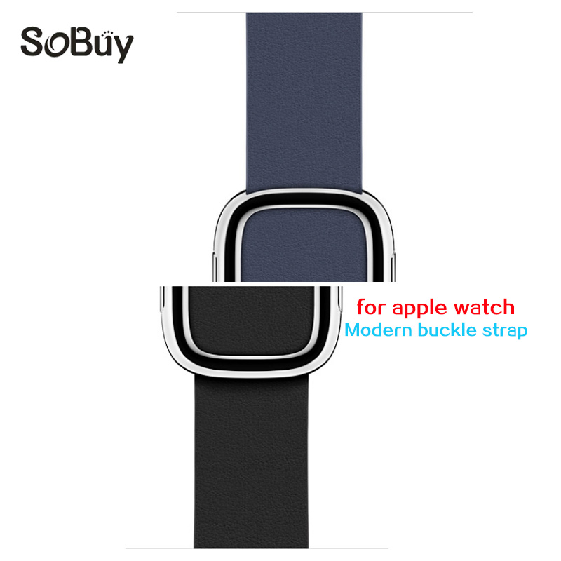 So buy Genuine leather strap for apple watch band 42mm 38mm iwatch 3 2 1 stainless steel modern buckle wrist bracelet watchband цена