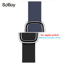 So buy Genuine leather strap for apple watch band 42mm 38mm iwatch 3 2 1 stainless steel modern buckle wrist bracelet watchband(China)