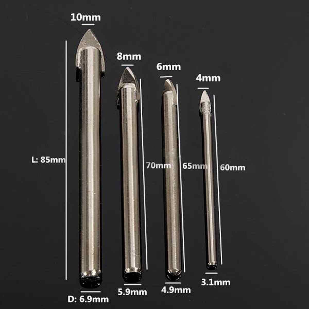 4 x Sứ Bạc Giáo Đầu Đá Ceramic Kính Đá Cẩm Thạch Khoan Bộ có 4/6/8/ 10mm