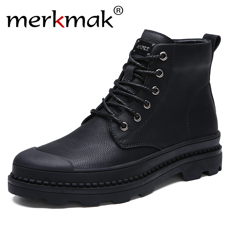 Merkmak Men Boots With Fur Business Casual Boots For Men 2018 Winter Autumn Black Fashion Basic Warm Boots Ankle Lace Up Shoes xiaguocai new arrival real leather casual shoes men boots with fur warm men winter shoes fashion lace up flats ankle boots h599