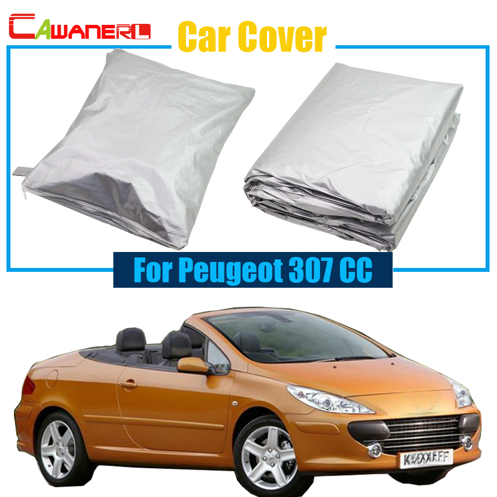 Cawanerl Car Cover UV Anti Outdoor Rain Sun Snow Resistant Protection Cover Dust Proof For Peugeot