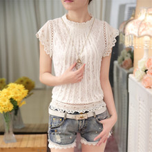 Women's Elegant Short-sleeved Blouse with Lace Decoration