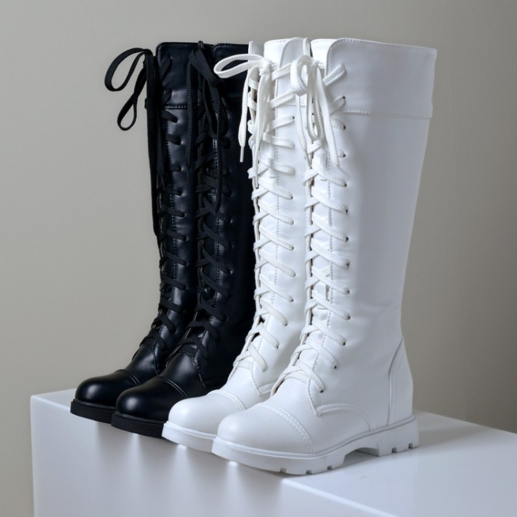 96cdde3f873 US4 11 Women s Knee High Boots PU Leather Lace Up Low Block Heel Combat  Punk Shoes-in Knee-High Boots from Shoes on Aliexpress.com