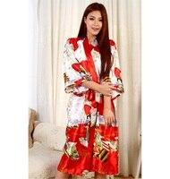 الشحن مجانا الأحمر سيدة الحرير قلد الحرير البشكير رداء ثوب اليابانية يوكاتا ثوب مطبوعة نوم الحجم sml xl xxl xxxl
