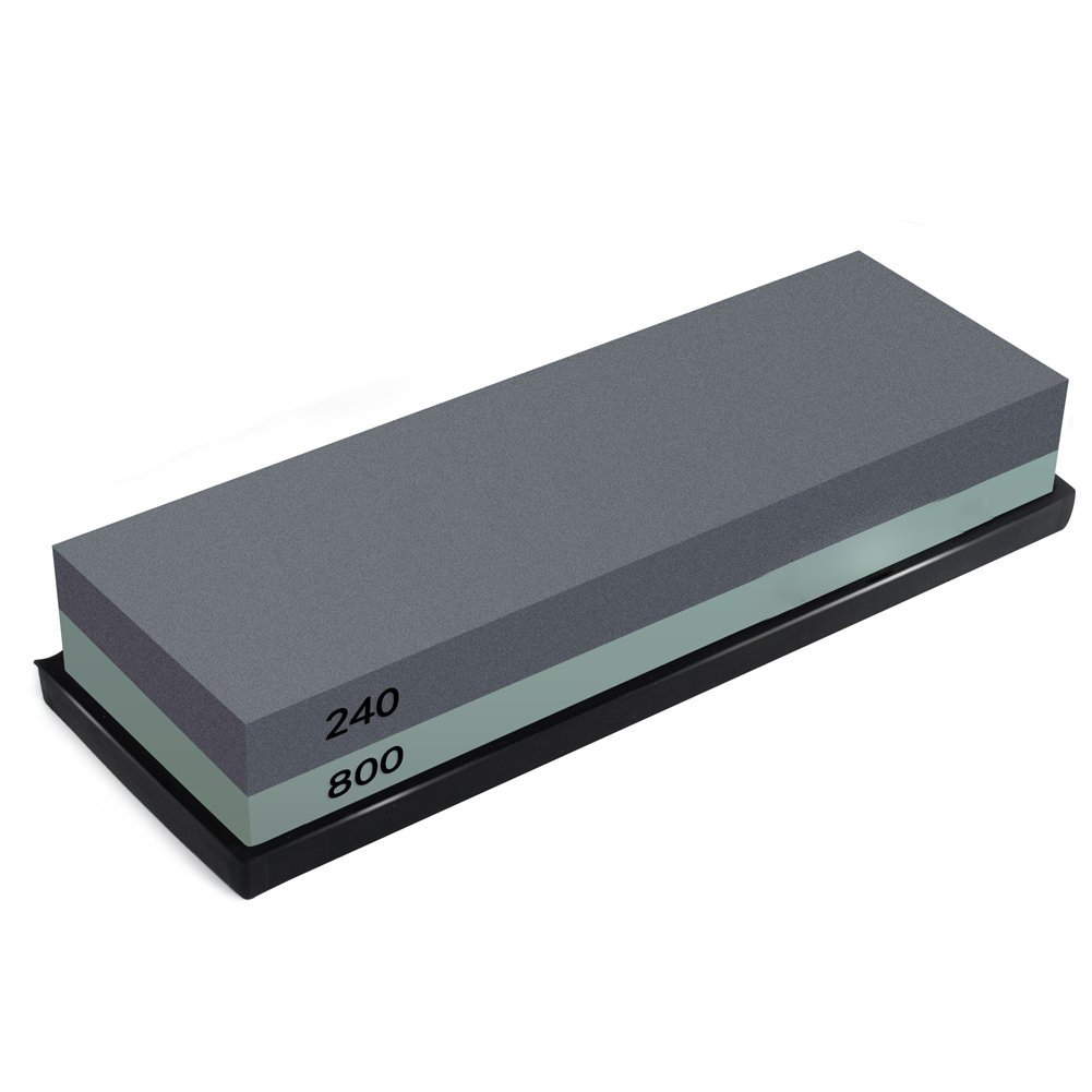 Hot sale Whetstone 2-IN-1 Sharpening Stone 240/800 Grit Waterstone Knife Sharpener, Rubber Stone Holder Included