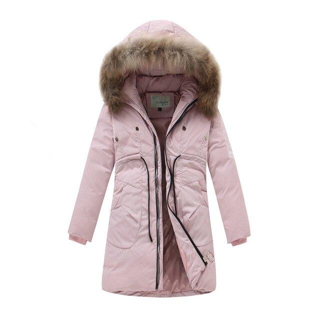 Новый Мода 2017 г. зимние Пуховики и парки для мужчин для Обувь для девочек От 6 до 14 лет Детская верхняя одежда зимние теплые для маленьких девочек Толстая Утка Пух Детская куртка с капюшоном