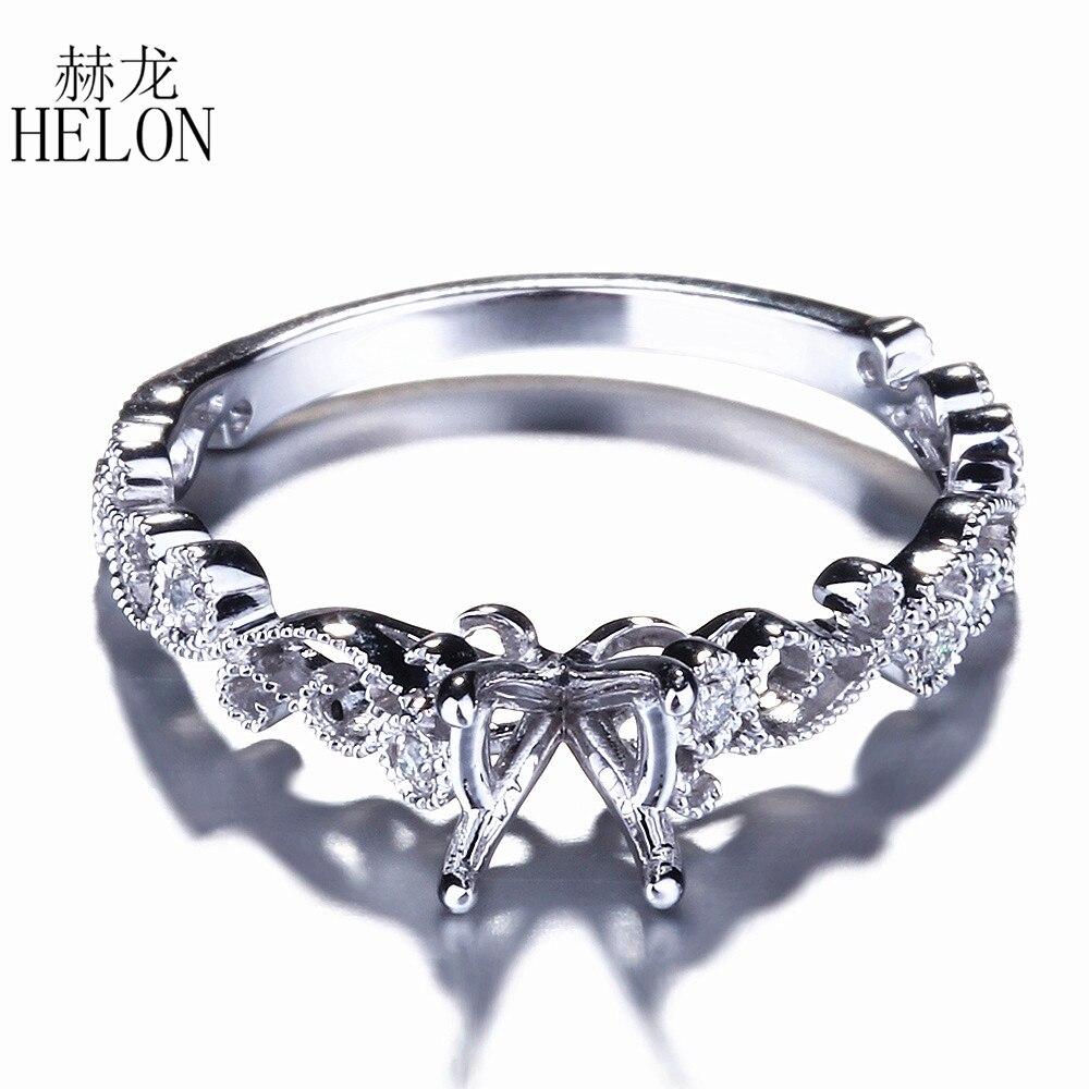 HELON 5 6mm Round Cut Semi Mount Ring 925 Sterling Silver Natural Diamonds Engagement Weddding Women