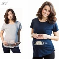 RQ Fashion T Shirts Baby Print Maternity Shirt Cotton Funny Maternity Shirts Gravida Top Pregnancy Clothing