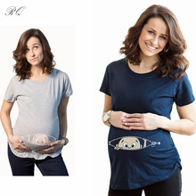 RQ Fashion T-Shirts Baby Print Maternity Shirt Cotton Funny Maternity Shirts Gravida Top Pregnancy Clothing Tees Casual YF42