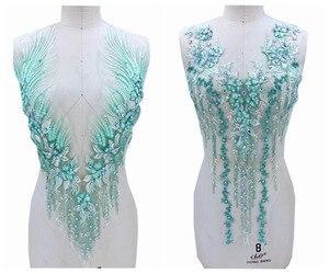 O applique feito à mão puro do laço verde claro do strass costura em remendos de corte de cristal 60*33 cm/62*30 cm para o acessório do vestido
