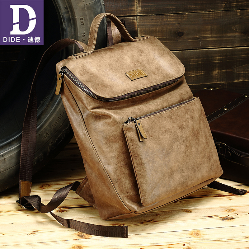 DIDE 2018 new shoulder bag male leisure backpack Canvas Korean style fashion Large capacity travel bag men personality new fashion simple style students canvas shoulder bag large capacity backpack change pouch four sets for girls boys