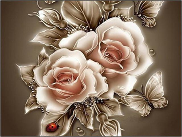 5065cm THE MOST BEAUTIFUL ROSE FLOWERS BRIGHT ROUND DIAMOND PICTURE HALL DECORA Gift Diy