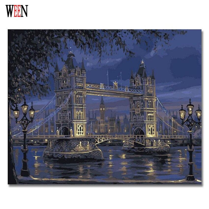 WEEN Londres Pont Photos Par Numéros DIY Peint À La Main Peinture À L'huile Pour Salon Coloration Par des Numéros Toile Illustration 2017 Cadeau