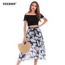 NEEDBO Printed Skirts Womens High Waist Chiffon Women Fashion 2019 Casual Sexy Party Midi Skirt Jupe Femme
