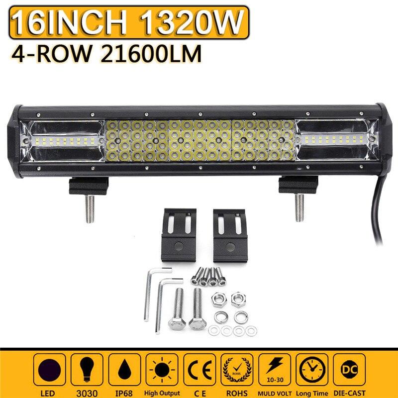 Acheter 16 Pouce 1320 W LED lampe de Travail Bar Spot Flood Combo Conduite lampe 6000 K Étanche LED Travail Lumière Pour Offroad SUV ATV De Voiture camion de light for fiable fournisseurs