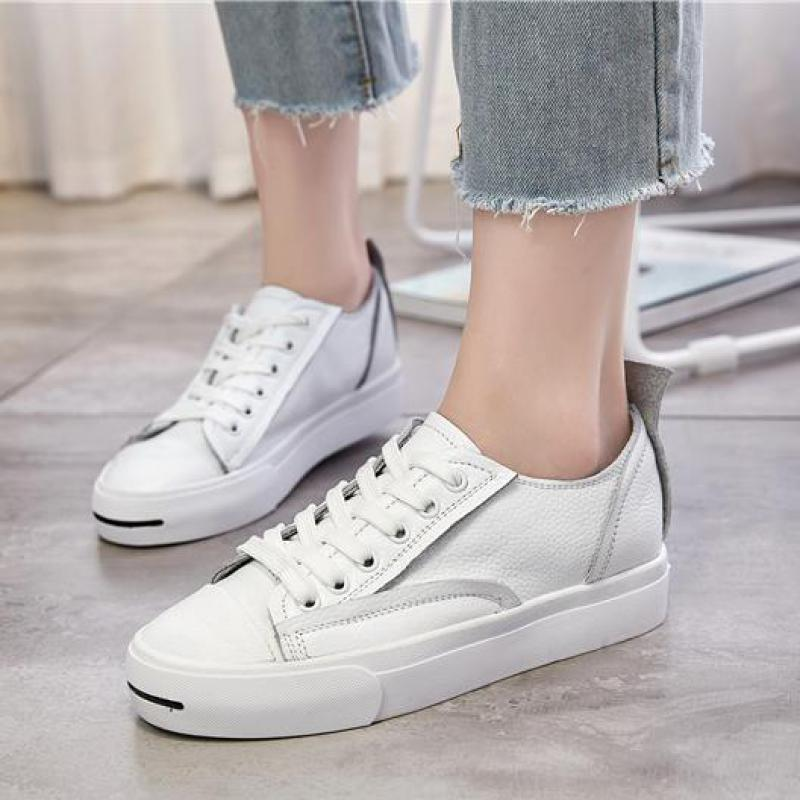 Genuine Leather Shoes Women 2016 Autumn New Fashion Round Toe Lace-up Casual White Shoes Womens Leather Loafers Zapatos Mujer new women shoes fashion genuine leather spring autumn casual shoes lace up loafers shoes heavy bottomed platform white shoes