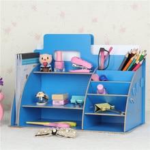 Diy wooden box office storage rack creative storage box desktop file rack data frame office accessories