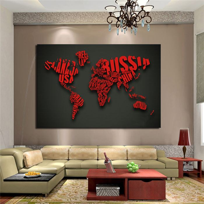 1 Piece Picture Art Red Map Letter Modern Home Decor Painting On Canvas Large Hd Print Back To The Future Unframed In Calligraphy From