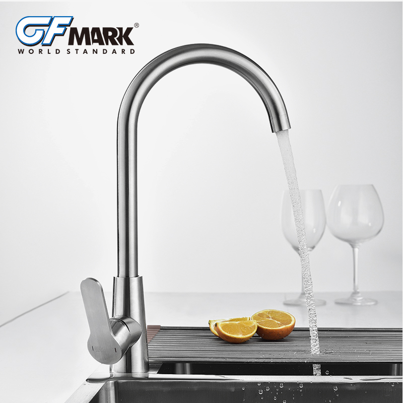 GFmark robinets de cuisine en acier inoxydable mélangeur robinets Tube rotatif brossé grue robinets pont monté mélangeur robinet pour appareil de cuisine