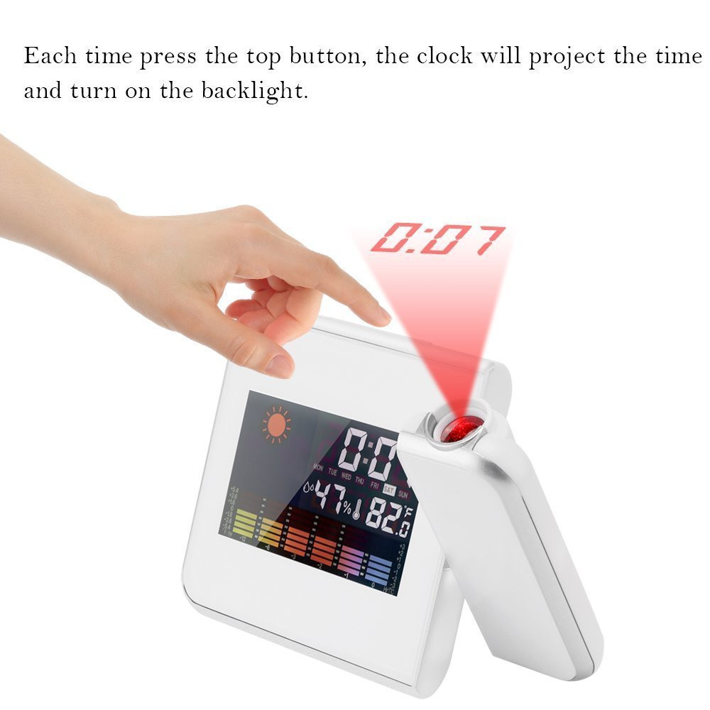 Projection Digital Weather Black LED Alarm Clock Snooze Color Display / LED Backlight