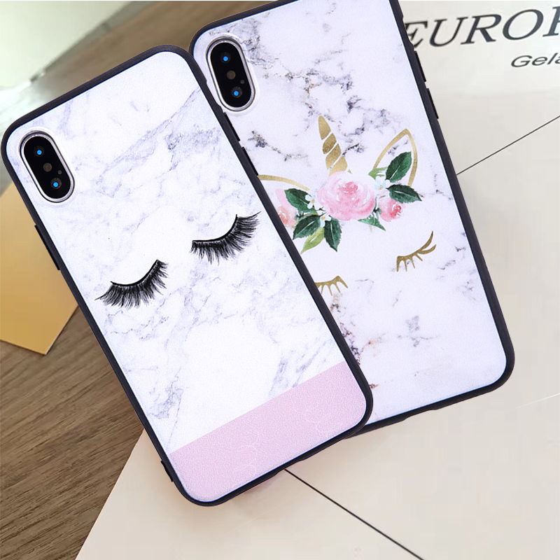 Cartoon Unicorn Marble Phone Case For iPhone X 6 6s 7 8 Plus XR MAX SE Matt Cases For iPhone XS Hard Silicone Flower Back Cover in Fitted Cases from Cellphones Telecommunications