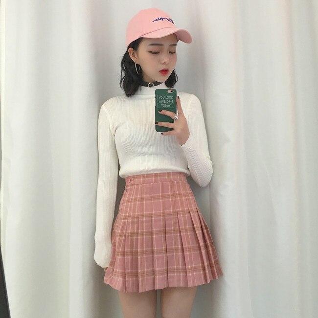 2d3377f81d Harajuku Skater Skirts 2018 Summer New korean Harajuku Vintage Plaid ...
