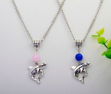 10PCS Hot Zinc Alloy Plating Silver Shark&Multicolor Beads Charm Pendant Necklace Fashion Jewelry Accessories DIY For Women H071
