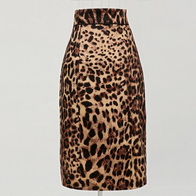Cintura alta falda del lápiz estampado de leopardo de algodón spandex retro vintage 50 s estilo american apparel mujeres jupe faldas saia