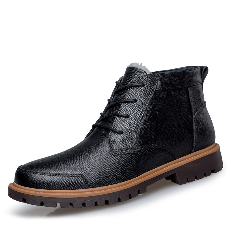 New Arrival Genuine Leather Men Ankle Boots Winter Fur Snow Boot for Man Flat Casual Martin Boots Shoes Plus Size 45 46 47 arrival fashion men winter shoes keep warm plush ankle boot snow work shoes outdoor men casual boots man zapatillas size 39 44