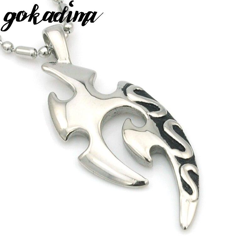 GOKADIMA retro crescent parang liontin gothic gaya suku untuk mens 2017  stainless steel man perhiasan WP075 580531198a