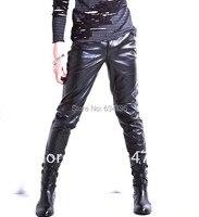 Gorąca Sprzedaż 2017 New Fashion free-wysyłka Lederhosen Mocno Faux Wiatroodporny Rajstopy Szczupły Skinny Spodnie Męskie Spodnie Skórzane PU czarny