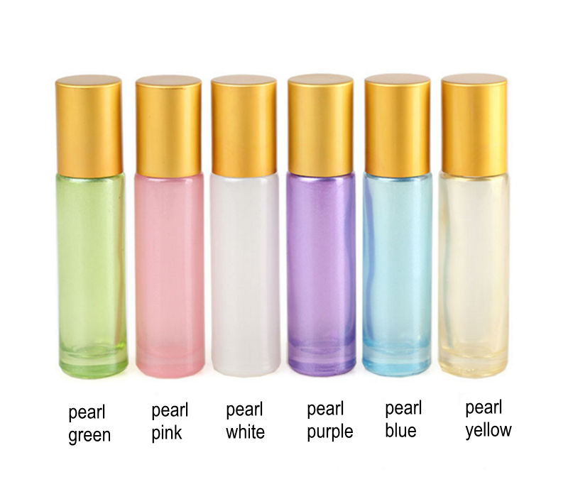 4pcs/Pack Thick 10ml Glass Perfume Roll On Bottle With Stainless Steel/Glass Ball Roller Glass Essential Oil Bottle Travel Use
