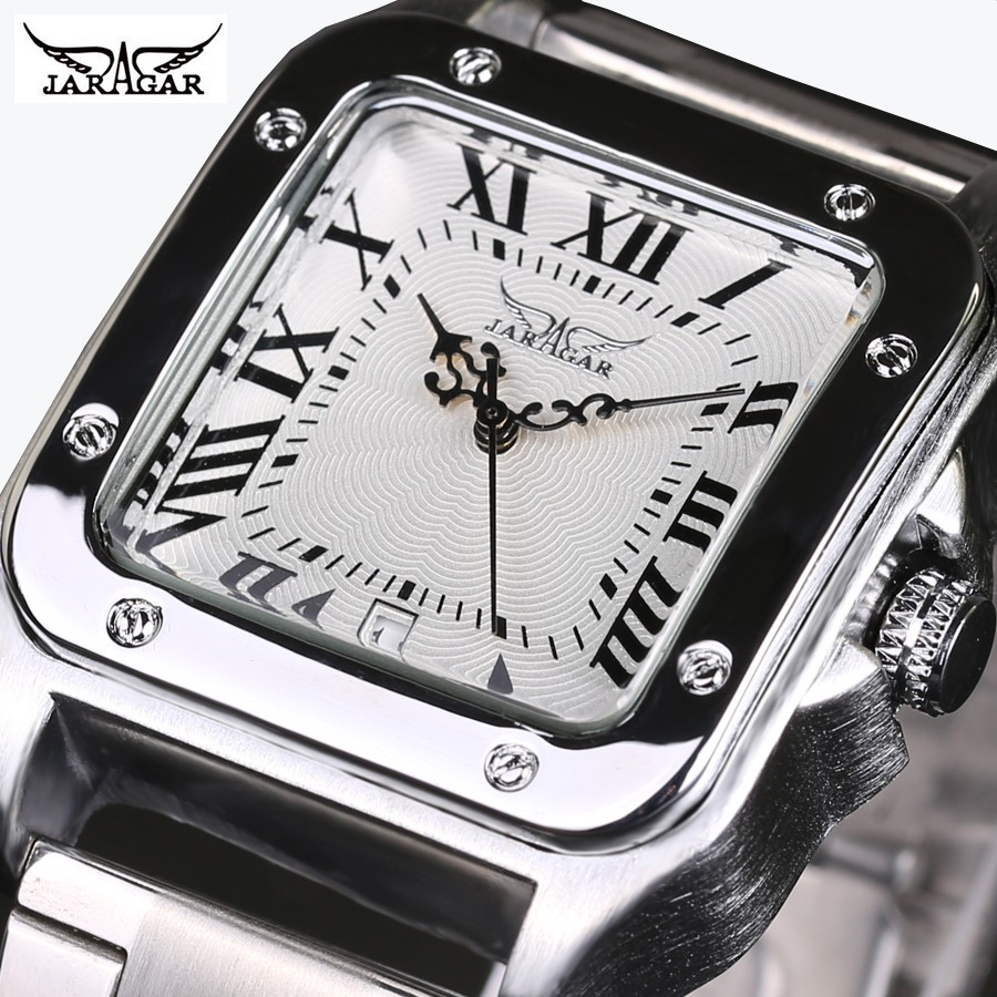 2016 fashion stainless steel men male skeleton clock JARAGAR brand stylish design classic automatic mechanical wrist sport watch shenhua brand black dial skeleton mechanical watch stainless steel strap male fashion clock automatic self wind wrist watches