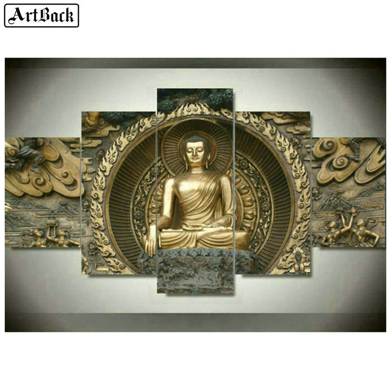 5 fight Buddha diamond painting cross stitch stickers full square Buddhist 5d mosaic 3d embroidery set