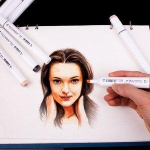 Image 3 - Touchnew marcador duplo caneta álcool na arte marcador, esboço canetas tons de pele marcadores, para retrato ilustração desenho arte suprimentos
