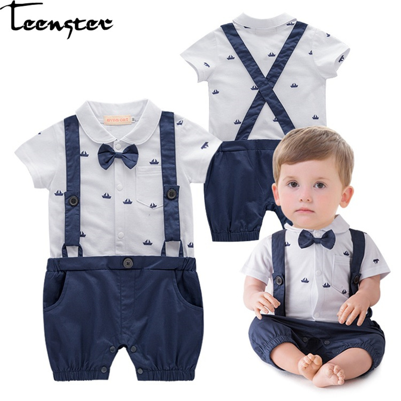 New Born Baby Boy Clothes Cartoon Boat Printed Straps Gentleman Style Short Sleeve   Rompers   3 6 12 18 Month Newborn   Romper